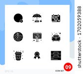 set of 9 vector solid glyphs on ...