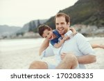 father and son playing at beach ... | Shutterstock . vector #170208335