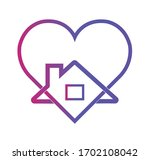 stay home outline icon  heart ... | Shutterstock .eps vector #1702108042