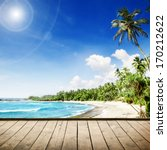 tropical beach with palm trees. ... | Shutterstock . vector #170212622