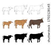 Cow  Bull And Calf. Vector...