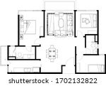 2d cad layout plan drawing of a ... | Shutterstock .eps vector #1702132822