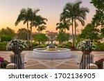 Lakeland, Florida, USA gardens at dusk.