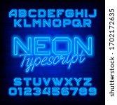 neon alphabet font. blue neon... | Shutterstock .eps vector #1702172635