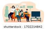 group of friends watching scary ... | Shutterstock .eps vector #1702214842