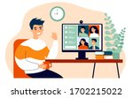 worker using computer for... | Shutterstock .eps vector #1702215022