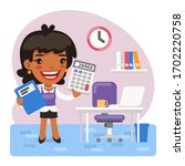 accountant with a calculator...   Shutterstock .eps vector #1702220758