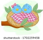 Cute Sleeping Babies Blue Bird...