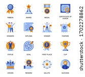 business success icons set in...