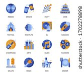 party icons set in flat style....