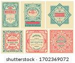 set of 6 vintage labels for... | Shutterstock .eps vector #1702369072