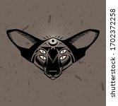 occult cat's head with four... | Shutterstock .eps vector #1702372258