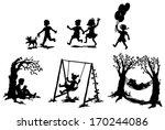 sets of silhouette children boy ... | Shutterstock .eps vector #170244086