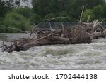 Log Jam On Red River At Fargo