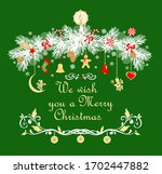 christmas garland with conifer...
