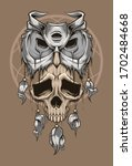 Totem Of Owl And Skull. Vector...