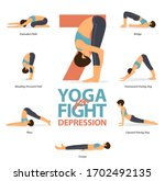 infographic of 5 yoga poses for ... | Shutterstock .eps vector #1702492135