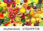 fresh tropical fruits. assorted ... | Shutterstock .eps vector #1702499728