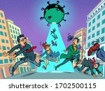 panic people running away from... | Shutterstock .eps vector #1702500115