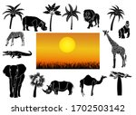 african animals set of cut out... | Shutterstock .eps vector #1702503142
