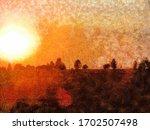 Abstract Art Evening Sunset...