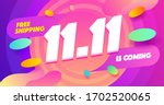 abstract 11.11 sale banner with ... | Shutterstock .eps vector #1702520065