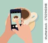 man photographs coffee. photo... | Shutterstock .eps vector #1702540348