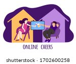 people in virtual date  alcohol ...   Shutterstock .eps vector #1702600258