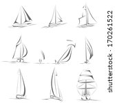 set of different sailing ships... | Shutterstock .eps vector #170261522