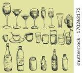 set of ink drawing wineglass ... | Shutterstock .eps vector #170263172