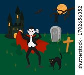 vampire in cemetery  dark...   Shutterstock .eps vector #1702656352