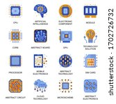 electronics icons set in flat...
