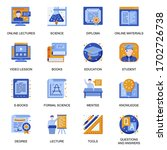 education icons set in flat...