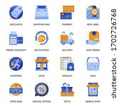 e commerce icons set in flat...