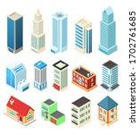 isometric buildings set... | Shutterstock .eps vector #1702761685