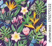 seamless tropical pattern with... | Shutterstock . vector #1702772122