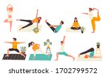 young people in yoga poses set... | Shutterstock .eps vector #1702799572