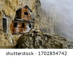 Hut of officers on the Martini Ledge of Mount Lagazuoi during WWI. Rifugio Lagazuoi in Veneto. First world war italian