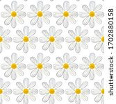 seamless pattern with daisy ... | Shutterstock . vector #1702880158