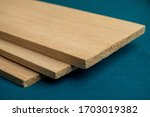 Small photo of Balsa wood. lightweight 3 peace of balsa wood textures macro closeup