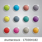 set of glossy buttons with...