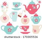 floral tea set | Shutterstock .eps vector #170305526