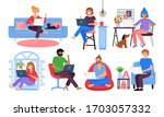 working from home concept. set... | Shutterstock .eps vector #1703057332