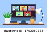 family and friends video online ... | Shutterstock .eps vector #1703057335