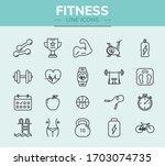 fitness line icon set for... | Shutterstock .eps vector #1703074735