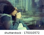 young woman drinking coffee and ... | Shutterstock . vector #170310572