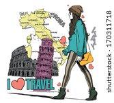 lovely girl in sketch style on... | Shutterstock .eps vector #170311718