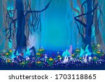 fantastic mysterious forest.... | Shutterstock .eps vector #1703118865