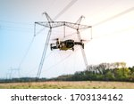 Drone Flying And High Voltage...