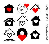 set of heart with home shape... | Shutterstock .eps vector #1703135698